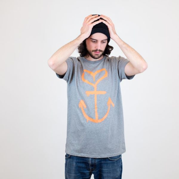 B-Side T-Shirt Ankerherz grau für Jungs