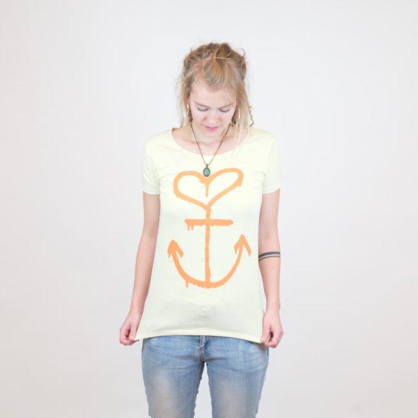 B-Side T-Shirt Ankerherz sand für Mädels