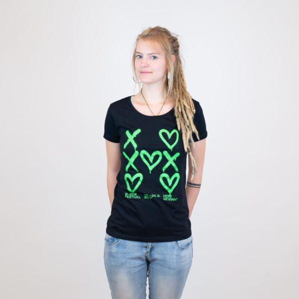 B-Side T-Shirt herzgewinnt schwarz für Mädels